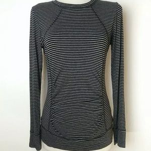 Cabi black Striped Long Sleeve Ruched Stretch